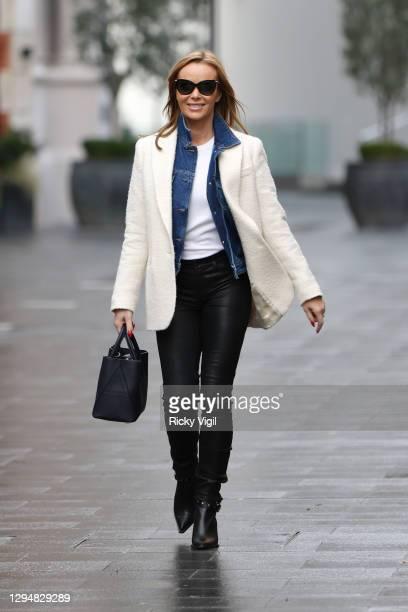 Amanda Holden seen leaving Heart Breakfast Radio Studios on January 06, 2021 in London, England.