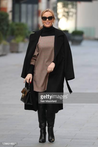 Amanda Holden seen leaving Heart Breakfast Radio Studios on January 07, 2021 in London, England.