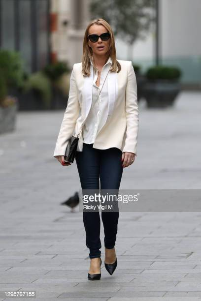 Amanda Holden seen leaving Heart Breakfast Radio Studios on January 11, 2021 in London, England.