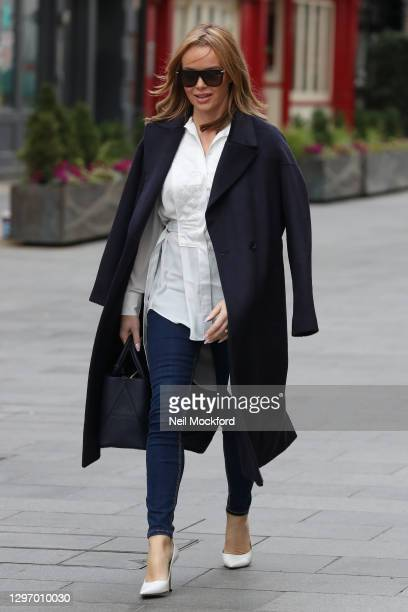 Amanda Holden seen leaving Heart Breakfast Radio Studios on January 18, 2021 in London, England.