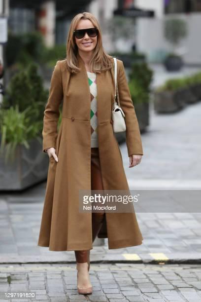 Amanda Holden seen leaving Heart Breakfast Radio Studios on January 19, 2021 in London, England.