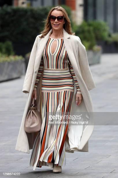 Amanda Holden seen leaving Heart Breakfast Radio Studios on January 26, 2021 in London, England.