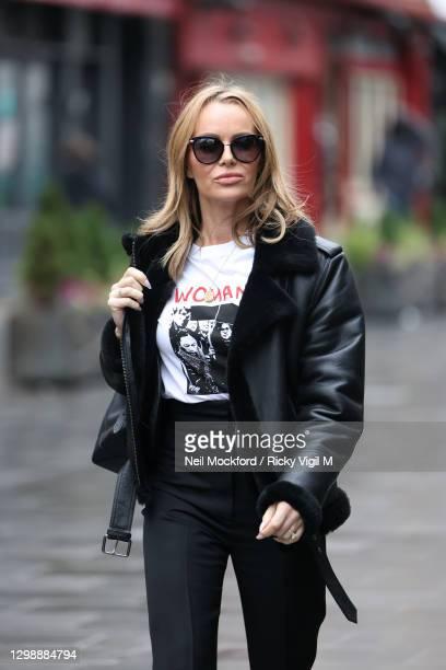 Amanda Holden seen leaving Heart Breakfast Radio Studios on January 27, 2021 in London, England.