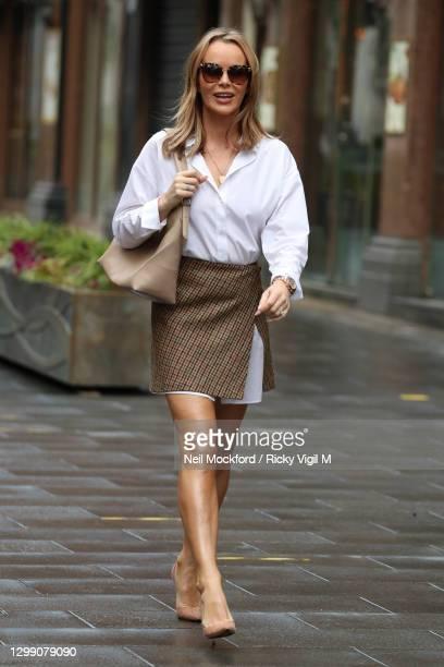 Amanda Holden seen leaving Heart Breakfast Radio Studios on January 28, 2021 in London, England.