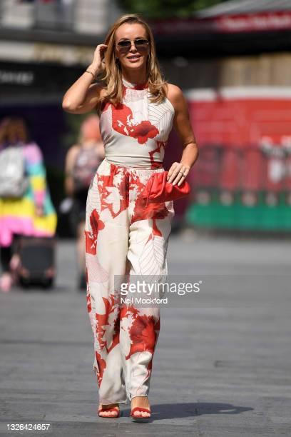 Amanda Holden seen leaving Heart Breakfast Radio Studios on July 01, 2021 in London, England.