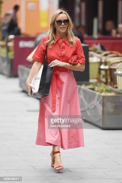 Amanda Holden seen leaving Heart Breakfast Radio Studios on July 13, 2021 in London, England.