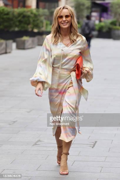 Amanda Holden seen leaving Heart Breakfast Radio Studios on July 15, 2021 in London, England.