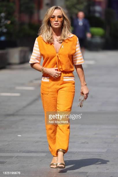 Amanda Holden seen leaving Heart Breakfast Radio Studios on June 24, 2021 in London, England.