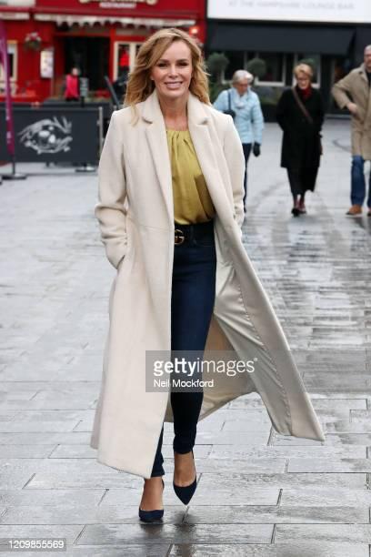 Amanda Holden seen leaving Heart Breakfast Radio studios on March 02, 2020 in London, England.