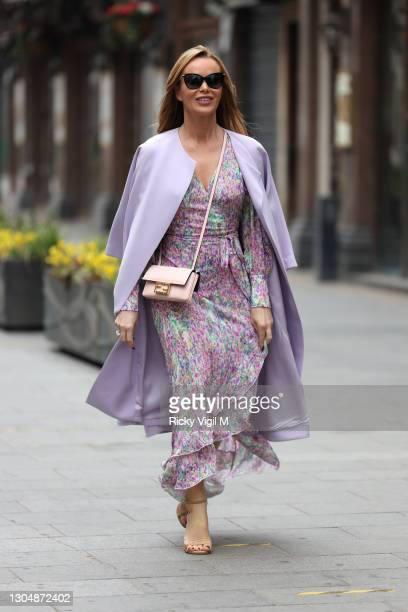 Amanda Holden seen leaving Heart Breakfast Radio Studios on March 02, 2021 in London, England.
