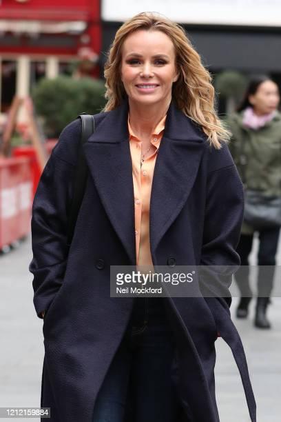 Amanda Holden seen leaving Heart Breakfast Radio Studios on March 13, 2020 in London, England.
