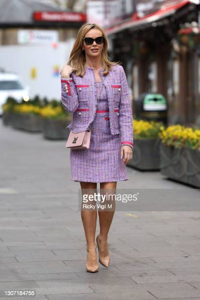 Amanda Holden seen leaving Heart Breakfast Radio Studios on March 15, 2021 in London, England.