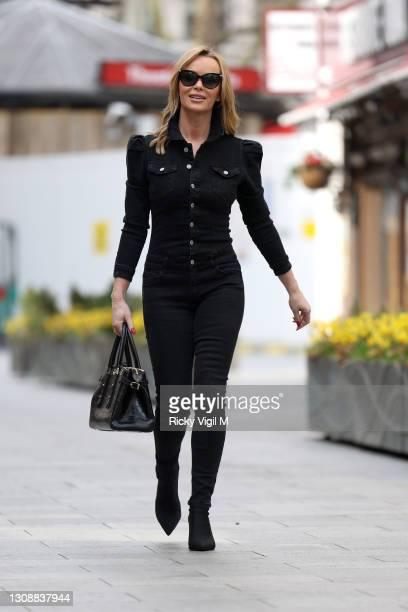 Amanda Holden seen leaving Heart Breakfast Radio Studios on March 24, 2021 in London, England.