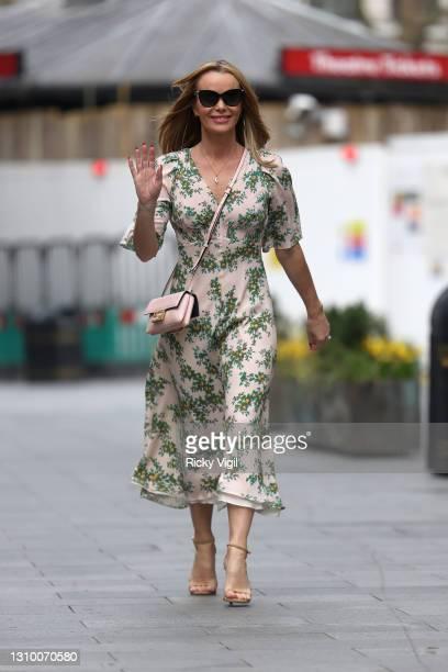Amanda Holden seen leaving Heart Breakfast Radio Studios on March 31, 2021 in London, England.
