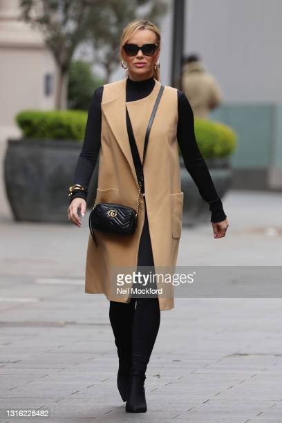 Amanda Holden seen leaving Heart Breakfast Radio Studios on May 04, 2021 in London, England.