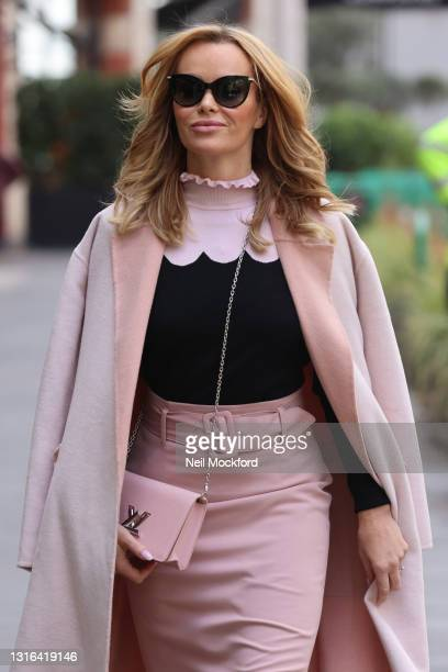 Amanda Holden seen leaving Heart Breakfast Radio Studios on May 05, 2021 in London, England.