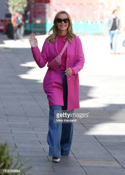 Amanda Holden seen leaving Heart Breakfast Radio Studios on May 07, 2021 in London, England.