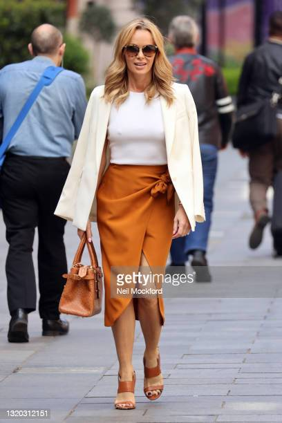 Amanda Holden seen leaving Heart Breakfast Radio Studios on May 27, 2021 in London, England.
