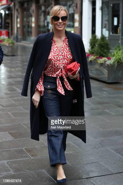Amanda Holden seen leaving Heart Breakfast Radio Studios on November 13, 2020 in London, England.