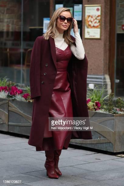 Amanda Holden seen leaving Heart Breakfast Radio Studios on November 17, 2020 in London, England.