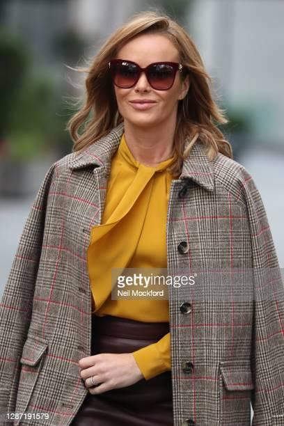 Amanda Holden seen leaving Heart Breakfast Radio Studios on November 23, 2020 in London, England.
