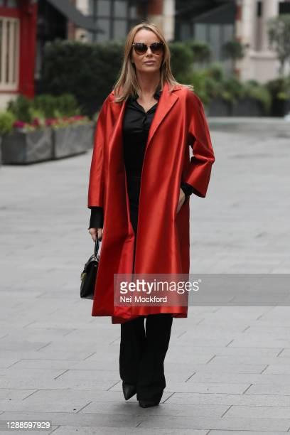 Amanda Holden seen leaving Heart Breakfast Radio Studios on November 30, 2020 in London, England.