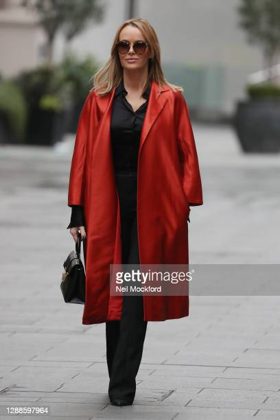 Amanda Holden seen leaving Heart Breakfast Radio Studios on November 30, 2020 in London, England.
