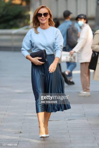 Amanda Holden seen leaving Heart Breakfast Radio Studios on September 10, 2020 in London, England.