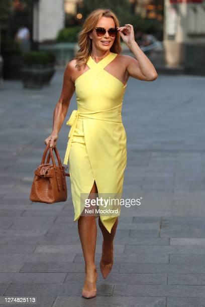 Amanda Holden seen leaving Heart Breakfast Radio Studios on September 22, 2020 in London, England.
