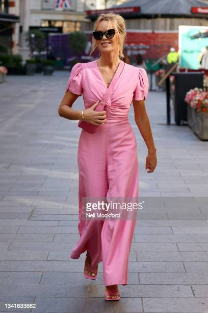 Amanda Holden seen leaving Heart Breakfast Radio Studios on September 21, 2021 in London, England.