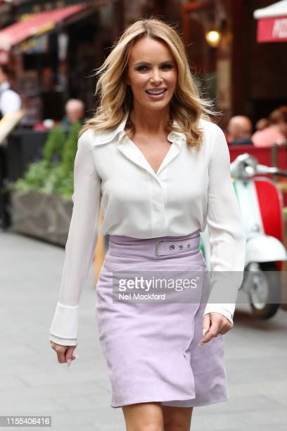 Amanda Holden seen leaving Heart Radio studios on June 12, 2019 in London, England.
