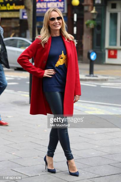 Amanda Holden seen leaving Heart Radio Studios on October 17, 2019 in London, England.