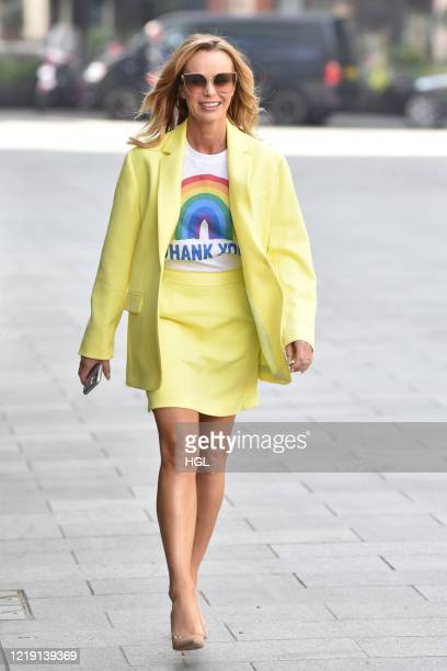 Amanda Holden seen leaving the Global studios after the Heart Radio Breakfast show on April 16 2020 in London England