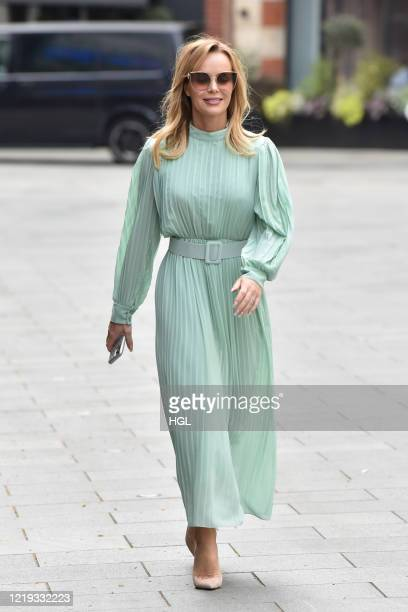 Amanda Holden seen leaving the Global studios after the Heart Radio Breakfast show on April 17, 2020 in London, England.