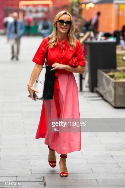 Amanda Holden seen leaving the Global Studios after the Heart Breakfasts show on July 13, 2021 in London, England.