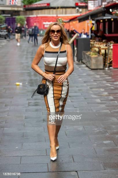 Amanda Holden seen outside the Global radio studios on July 12, 2021 in London, England.
