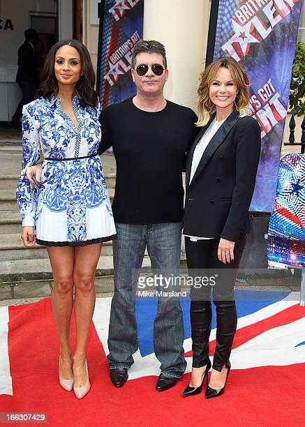 Amanda Holden Simon Cowell and Alesha Dixon attend the press launch for the new series of 'Britain's Got Talent' at ICA on April 11 2013 in London...
