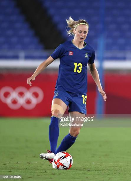 Amanda Ilestedt of Team Sweden runs with the ball during the Women's Semi-Final match between Australia and Sweden on day ten of the Tokyo 2020...