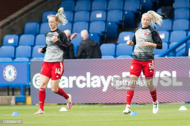Amanda Ilestedt warms up during the 2020-21 UEFA Womens Champions League fixture between Chelsea FC and Bayern Munich at Kingsmeadow.