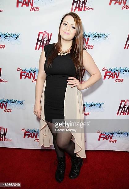 Amanda Jones arrives at The Fanatics Tour LA Show at Infusion Lounge on April 19 2014 in Universal City California