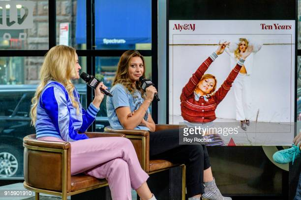 Amanda Joy Michalka and Alyson Michalka of Aly AJ discuss 'Ten Years' with the Build Series at Build Studio on February 8 2018 in New York City