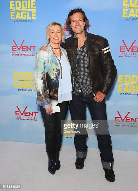 Amanda Keller and Brendon Jones arrive ahead of the Eddie The Eagle screening at Event Cinemas Bondi Junction on March 30 2016 in Sydney Australia