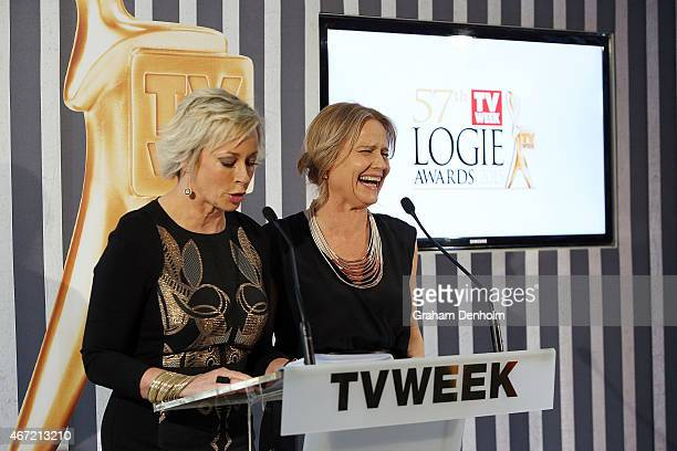 Amanda Keller and Shaynna Blaze host at the TV Week Logie Awards Nominations Party at Crown Metropol on March 22 2015 in Melbourne Australia