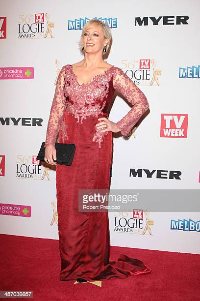 Amanda Keller arrives at the 2014 Logie Awards at Crown Palladium on April 27 2014 in Melbourne Australia