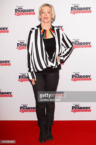 Amanda Keller arrives for the Sydney Premiere of 'Mr Peabody Sherman' at Fox Studios on February 23 2014 in Sydney Australia