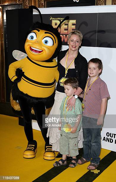 Amanda Keller with her children Liam and Zack attend the Sydney Premiere of 'Bee Movie' at the State Theatre on November 19 2007 in Sydney Australia