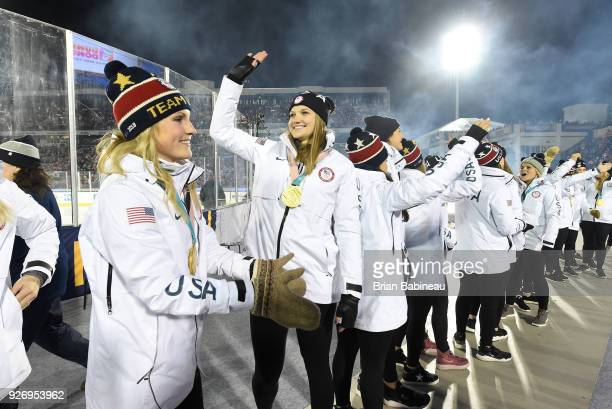 Amanda Kessel Lee Stecklein and their 2018 United States Women's National Team teammates acknowledge the fans during a ceremony to acknowledge the...