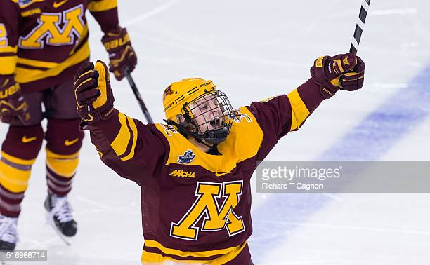 Amanda Kessel of the Minnesota Golden Gophers celebrates her goal against the Wisconsin Badgers during game two of the 2016 NCAA Division I Women's...