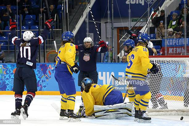 Amanda Kessel of the United States celebrates her goal in the first period against Valentina Lizana Wallner of Sweden during the Women's Ice Hockey...