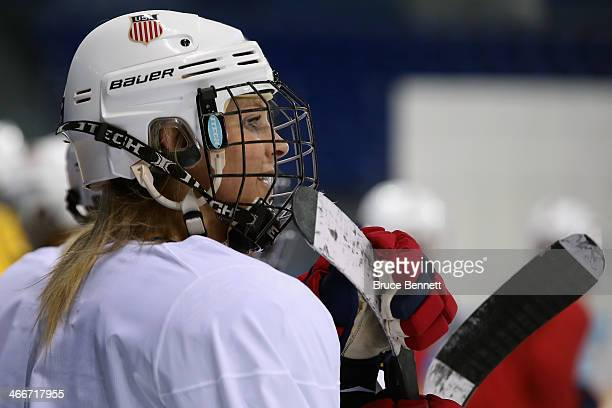 Amanda Kessel of the United States looks on during a practice session ahead of the Sochi 2014 Winter Olympics at Shayba Arena on February 3 2014 in...